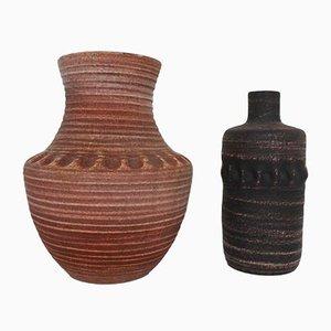 Jarrones de cerámica esmaltada de Accolay, años 60. Juego de 2