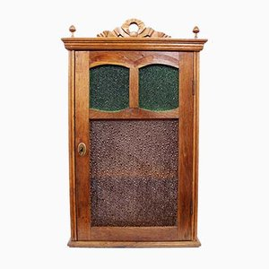 Art Deco French Antiqued Glass and Oak Cabinet, 1930s