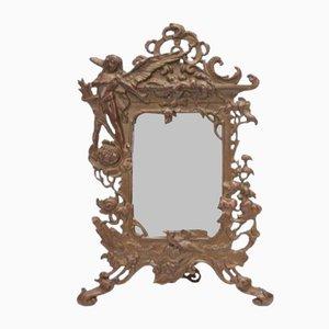 Antique Art Nouveau Bronze Mirror