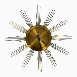 Large Mid-Century Sunburst Brass Wall Clock from Atlanta Electric