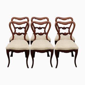 Antike viktorianische Esszimmerstühle aus Mahagoni, 6er Set
