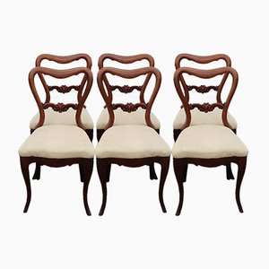 Antique Victorian Mahogany Cab Leg Dining Chairs, Set of 6