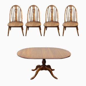 Mid-Century Oak Table & 4 Dining Chairs Set from Ercol