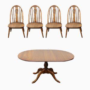 Mid-Century Tisch aus Eiche & 4 Esszimmerstühle von Ercol