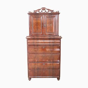 Antique Mahogany Tall Chest of Drawers, 1850s