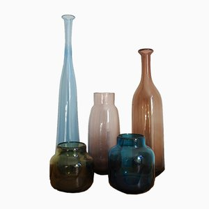 Mid-Century French Blown Glass Vases by Claude & Nicolas Morin, Set of 5