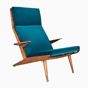 Mid-Century High Back Velvet Lounge Chair from De Ster Gelderland, 1960s