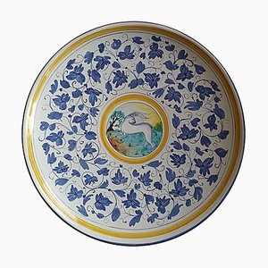 Large Italian Hand Painted Wall Plate or Centerpiece, 1980s