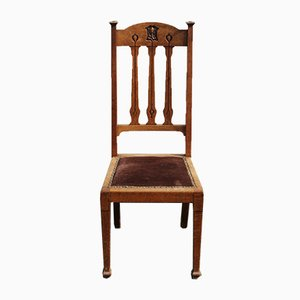 Antique Art Nouveau Oak Dining Chairs, Set of 8
