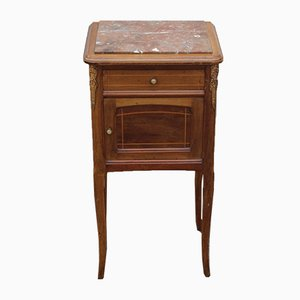 Vintage Walnut Bedside Table with Rouge Marble Top