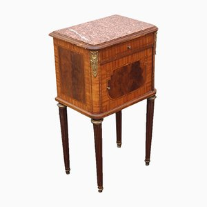 Vintage Mahogany Bedside Table with Marble Top