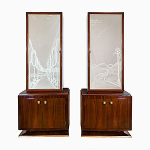 Art Deco Italian Cabinets, 1930s, Set of 2