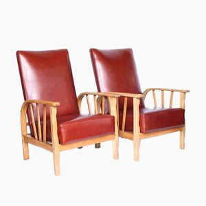 Antique Arts & Crafts Reclining Armchairs, Set of 2