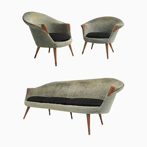 Conjunto de sofá y poltrona danés de lana, latón y teca de Nanna Ditzel, años 50
