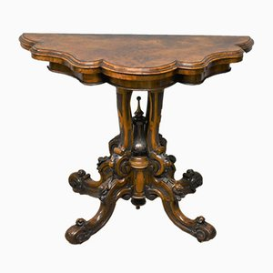 Antique Victorian Leather & Carved Burr Walnut Game Table