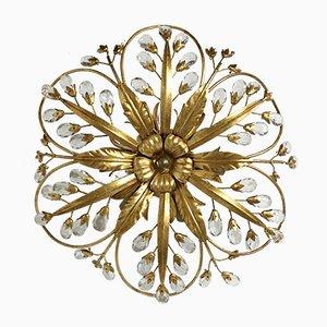 Italienische Vintage Wandlampen aus vergoldetem Metall & Swarovski-Kristallen, 2er Set