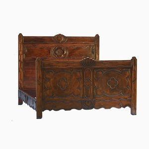 Antique French Carved Walnut Bed, 1890s
