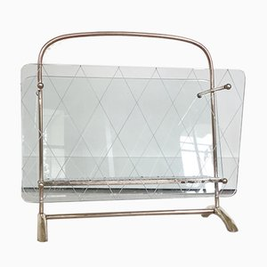 Italian Glass & Brass Magazine Rack, 1950s