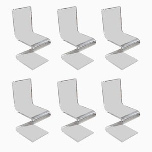 Vintage Zigzag Plexiglas Dining Chairs by Gerrit Thomas Rietveld