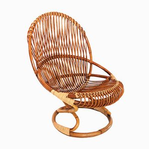 Italian Midcentury Bamboo & Wicker Chair by Giovanni Travasa for Bonacina, 1950s