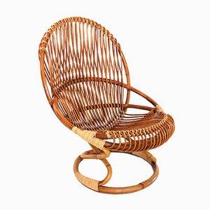 Italienischer Mid-Century Stuhl aus Bambus & Korbgeflecht von Giovanni Travasa für Bonacina, 1950er