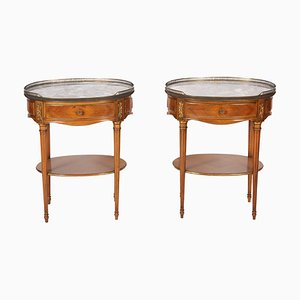 Tables de Chevet Antiques en Bois Fruitier, France, Set de 2