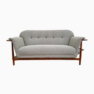 Vintage Danish Oak & Wool Sofa, 1960s