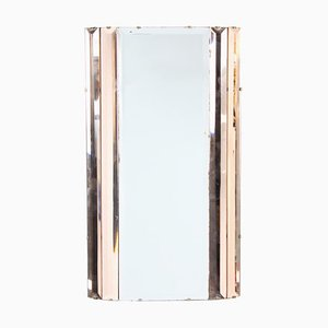 Art Deco English Peach & Clear Glass Mirror, 1930s