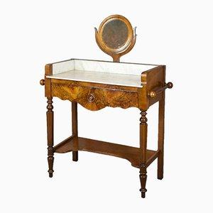 Antiker französischer Waschtisch aus Nussholz mit Spiegel