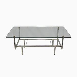 Mesa auxiliar vintage con superficie de vidrio