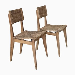 Vintage French Straw Chairs, 1950s, Set of 2