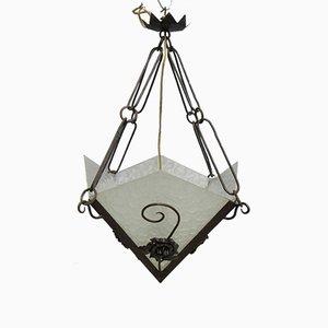 Lámpara de techo Art Déco vintage con tres placas de vidrio