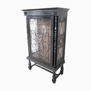 Antique Carved Walnut Vitrine, 1880s