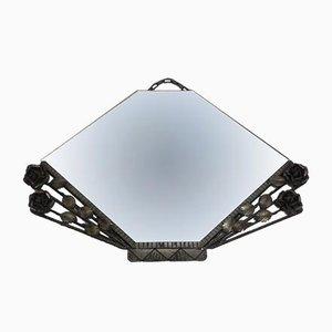 Espejo Art Déco vintage con marco de acero