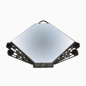 Vintage Art Deco Mirror in Steel Frame