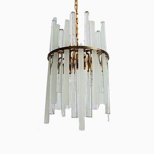 Lámpara de araña Mid-Century de latón con tubos de cristal de Christoph Palme & Co, años 60