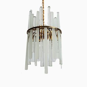 Mid-Century Crystal Glass Rod and Brass Chandelier by Christoph Palme & Co, 1960s