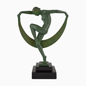Art Deco Nude Scarf Dancer Sculpture by Denis for Max Le Verrier, 1930s