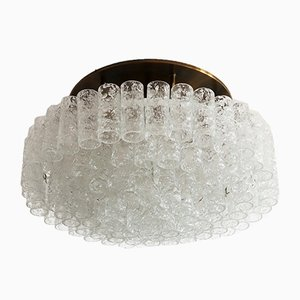 Mid-Century Glass and Brass Flush Mount Chandelier by Doria Germany, 1970s