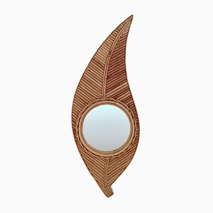 French Bamboo Leaf Shaped Mirror, 1970s