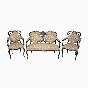 Antike edwardianische Sitzgruppe aus Mahagoni