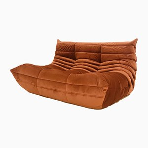 Mid-Century Velvet Togo Loveseat by Michel Ducaroy for Ligne Roset, 1970s