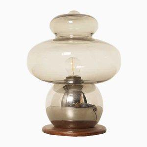Lámpara de mesa danesa de cristal ahumado, años 60