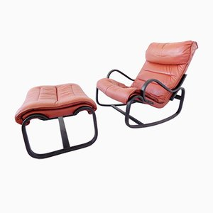 Vintage Rocking Chair & Ottoman Set from Strässle