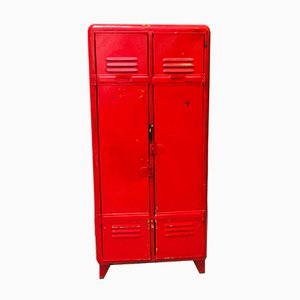 Mid-Century Industrial Red Locker Cabinet