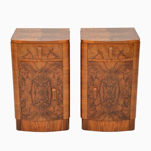 Vintage Art Deco Burr Walnut Bedside Cabinets, 1930s, Set of 2