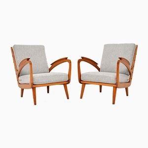 Vintage Cherry Wood Armchairs, 1950s, Set of 2
