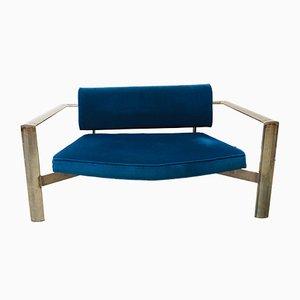 Vintage Velvet & Steel 2-Seater Sofa, 1980s