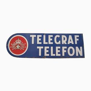 Cartel de teléfono industrial Mid-Century esmaltada, años 50