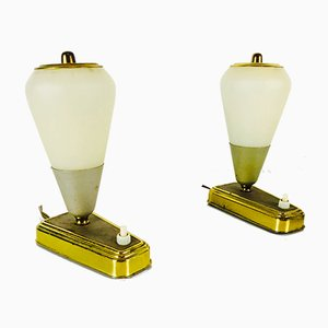 Mid-Century German Modern Green & Brass Table Lamps, 1950s, Set of 2